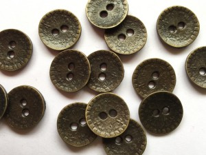 Antique Brass Metal Floral Patterned Buttons 18 mm x 4 Buttons